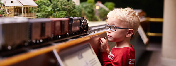 Miniature Railroad and Village - boy watching trains